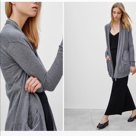 Dark Grey Wilfred Silk & Cashmere Blend Cardigan